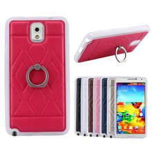 ring stand leather coated TPU case for Samsung Galaxy Note 3 N9000