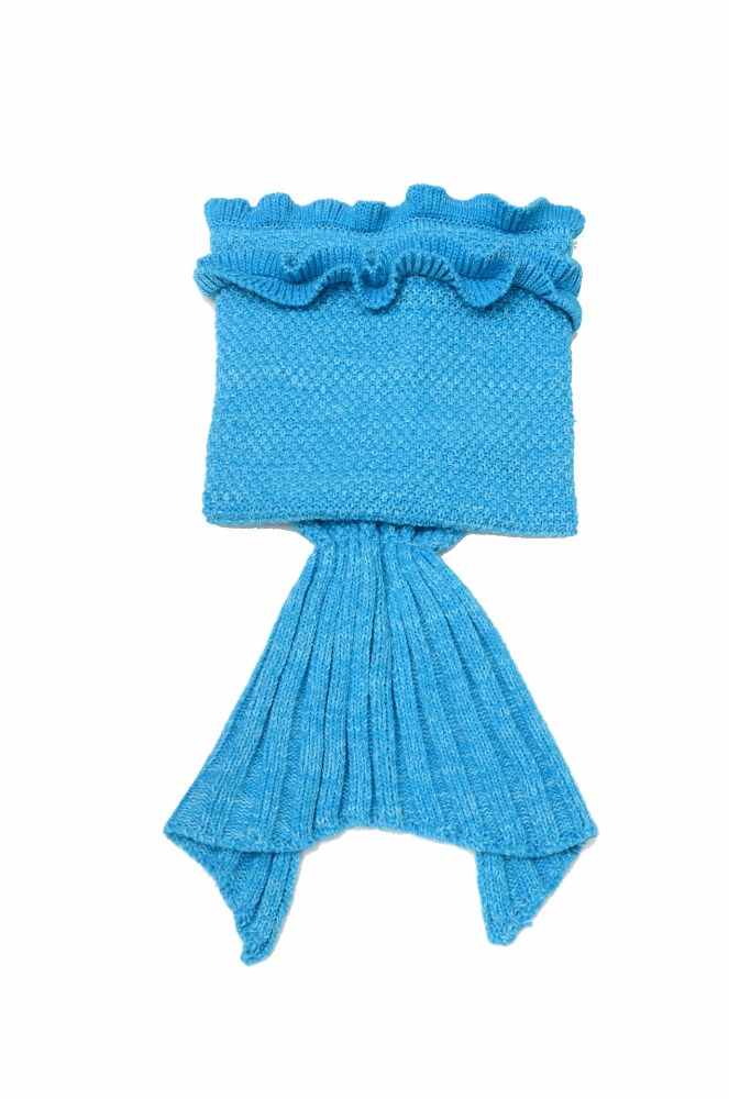Onen Wholesale New Crochet Mermaid Tail Blanket Adult Child Size 140*70 Bright Blue