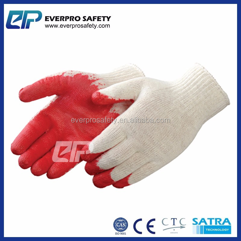 Bleached Cotton Textile Gloves Smooth Latex Coated Labor Work Rubber Glove