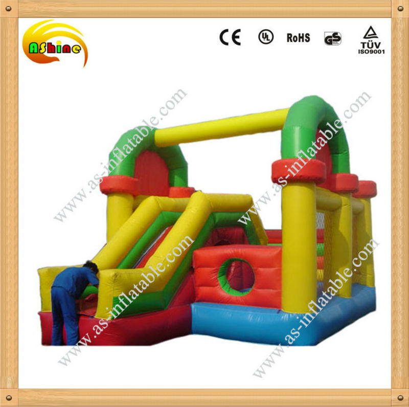 Economic and portable colorful inflatable castle slide