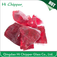 Red colored decorative large glass landscaping rocks
