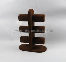 Brown Velvet T Shape Display Holder For Bracelet And Jewelry