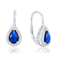 POLIVA Sterling Silver Fashion Sapphire Jewelry, Pear Shape Crystals Luxury Big Stone Earrings 925 Silver