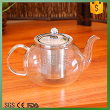 oval high-capacity pyrex/borosilicate glass tea pot
