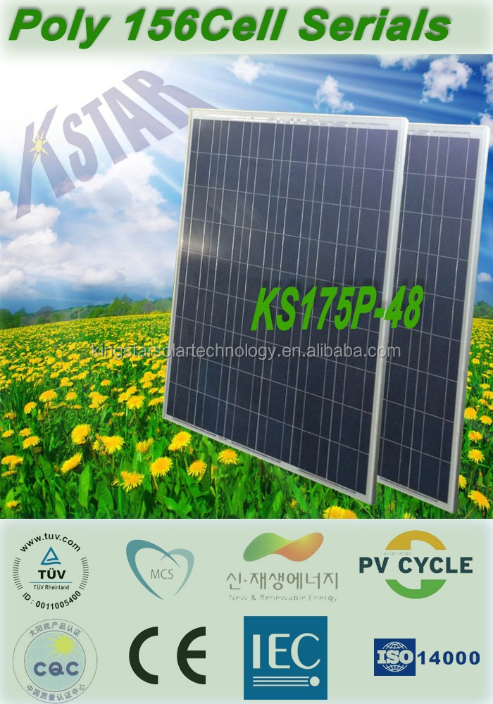175W poly Kingstar solar panel for 100KW home power systems/China good price panel solar with TUV CE certificates/chargers/solar