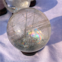 Wholesale natural rock Rainbow Hair Rutilated crystal Ball stone gemstone quartz crystal spheres for decor