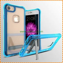 2 in 1 PC soft TPU Shockproof back cover with Stand hard plastic holder mobile phone Cases For iphone 6 6s 7 plus