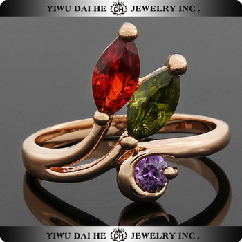 dubai gold ring designs copper and zircon finger ring jewelry