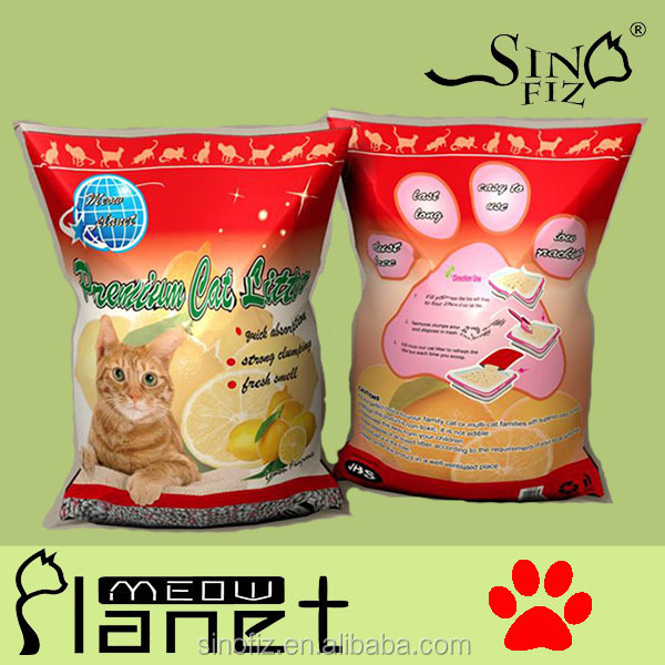 Lemon Aroma 2016 New Products Cutting Edged Super Absorbed Silica Gel Granule Bentonite Cat Litter for Multiple Cats