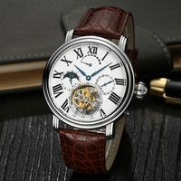 Custom High End Genuine Crocodile Leather Strap Real Tourbillon Watch For Men