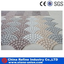 Hot Sale China Fanshaped Pattern Granite Cobblestone on Mesh Paver
