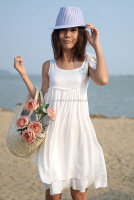 Womens Summer Casual White bowknot-shoulder Short Mini Dress Beach Wear cocktail party lovely sweet dress