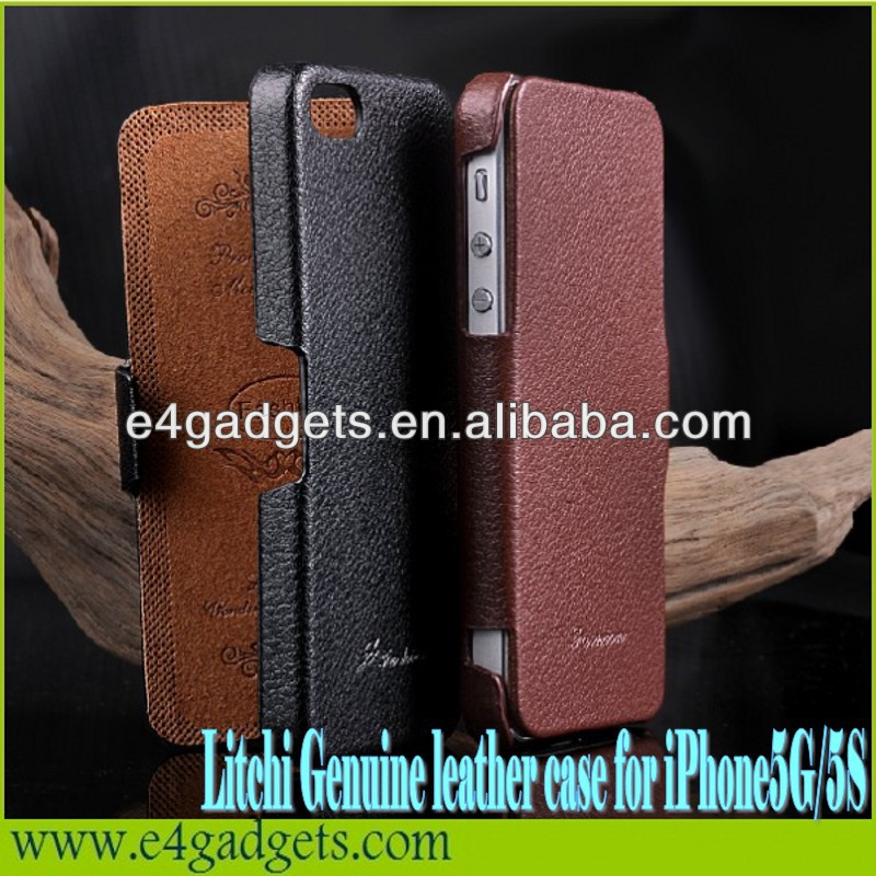 Excellent quality Horizontal Litchi Texture cowhide Flip Leather case for iphone 5 case