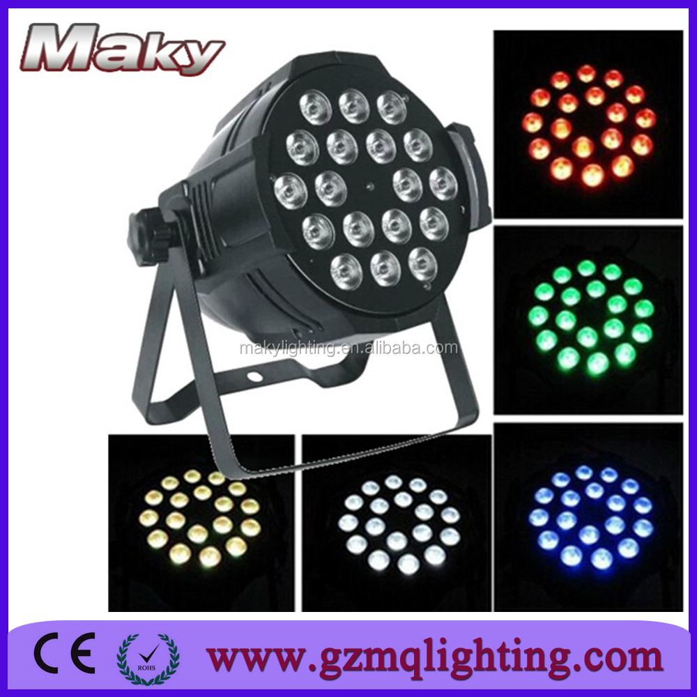 led flat par 18x15 rgbw slim led par 64 uplighting for wedding wireless dmx led slim par