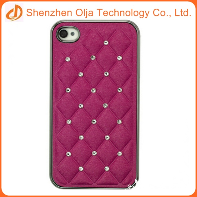 plated pc shell with diamond leather case for iphone 6