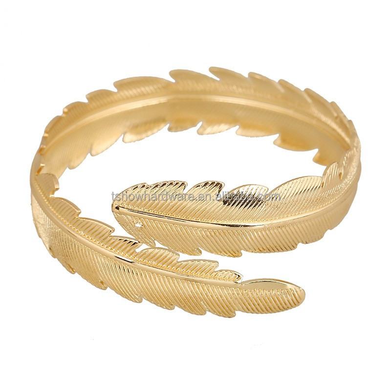 custom cheap fashion gold color metal alloy leaf shape bracelet jewelry for lady Bracelets jewellery