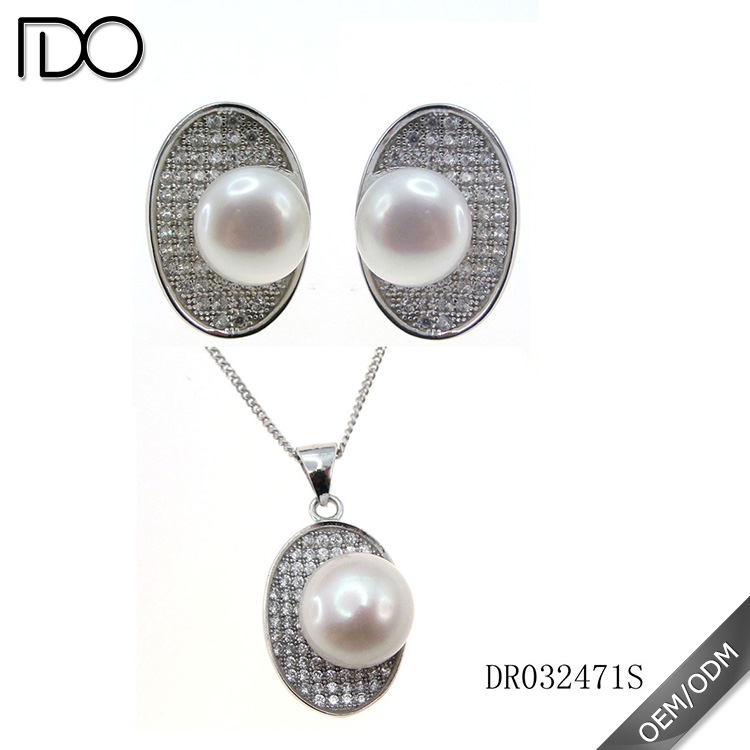 925 Sterling Silver Freshwater Natural Pearl Sets Jewelry Wholesale DR032471S
