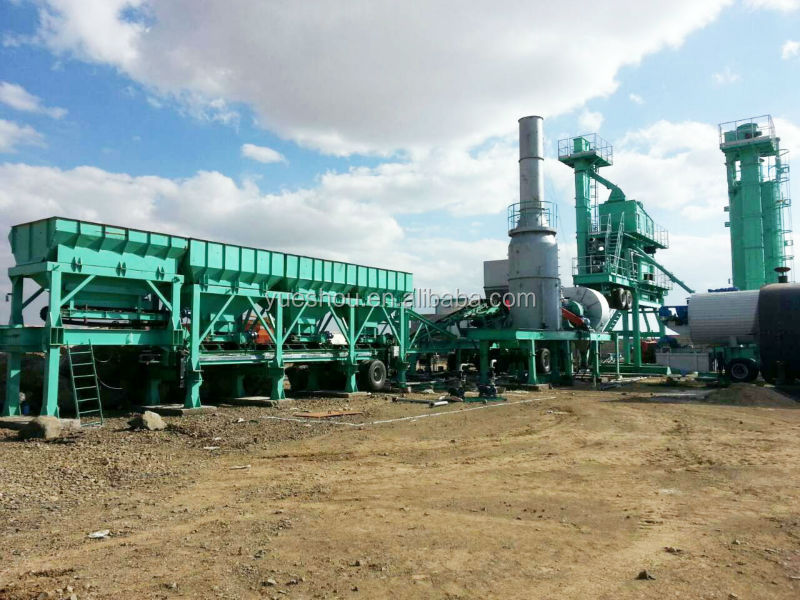 Mobile asphalt mixing plant 80t/h working Yemen