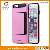 Smart phone case for iphone6plus tpu pc case with card slot anti-shock mobile covers