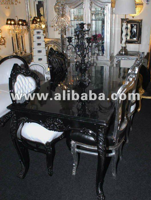 Royal nero neo di lusso in stile rococo favoloso barocco moderno pranzo soggiorno set mobili - Mobili stile barocco moderno ...