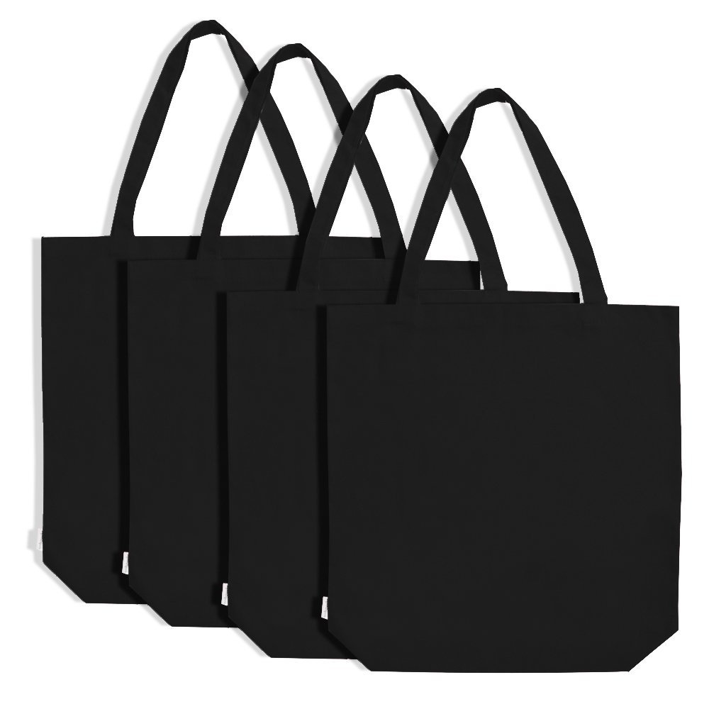 HighKing Fashion Eco-friendly recyclable cotton bag factory custom black color canvas tote bags bulk