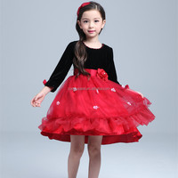 one piece full sleeve girl winter dress red western dress children frock model fashion designer frock 2016