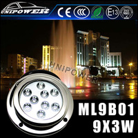 Hottest led underwater fishing light, 316 stainless steel casing underwater led lights for fountains, 27W led pool light