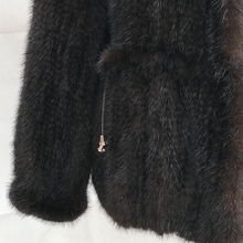 ladies winter wear high-grade striped sexy fashion sable knitted women long snug knit o-neck short mink fur coat from china