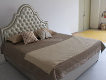 High head board linen fabric bed of west European style for home and hotel furniture