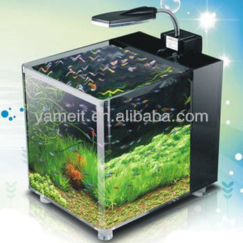 High quality custom design square clean acrylic fish tank with led