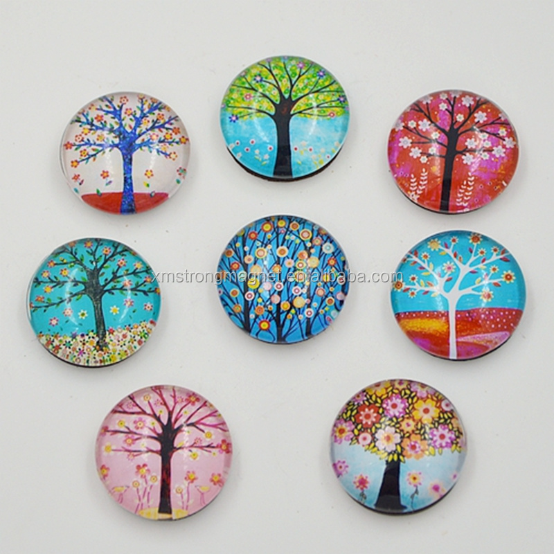 Crystal glass fridge magnets magnetic sticker for refrigerator home decoration