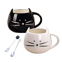 <strong>Black</strong> and white cute cat shape cat coffee mug