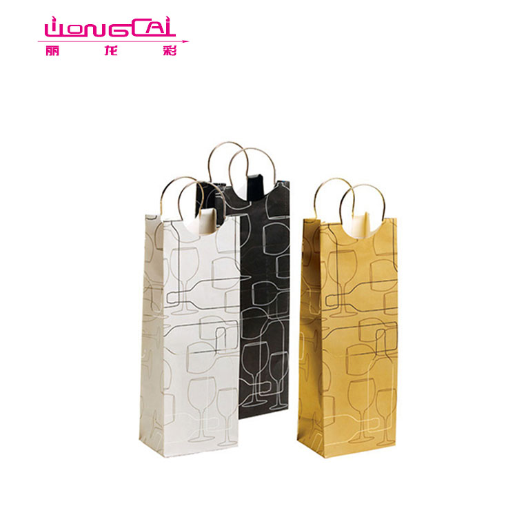 Wholesale Customized Eco-friendly Black Wine Bottle Shopping Paper Bags
