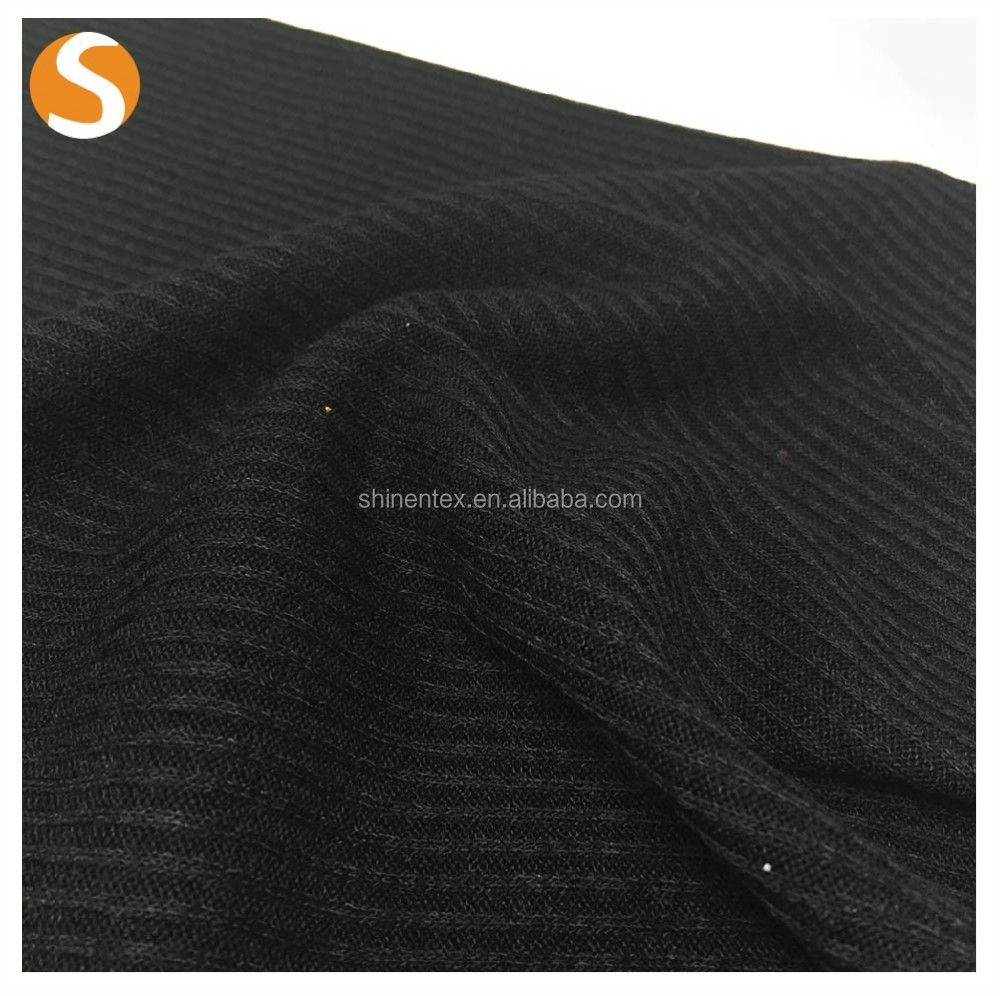 Elegant black 100% polyester ottoman rib knitted fabric for lady dresses