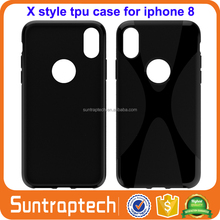 Soft Anti-Skid X Shape Silicone Rubber TPU Gel Case Cellphone Cover Skin for iPhone X 10 IP8C01