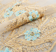 Fashion Design teal and gold beaded embroidery lace fabric with pearls