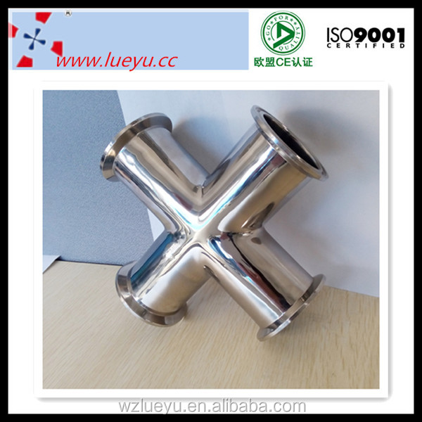 Pipe fittings sanitary SS polished cross