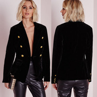 Fashion buttons fasten lapel collar women black velvet blazer