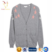 Ladies Stars Design Intarsia Sweater,Knit Pattern Cardigan Knitwear