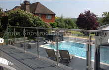 Outdoor glass banisters residential glass chrome railing