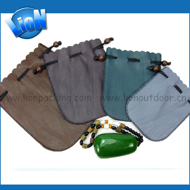 Drawstring PU Leather Pouch