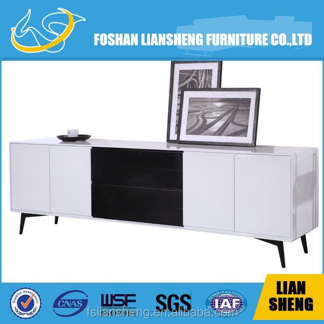 White high glossy cabinet with drawers#C018-M3-14