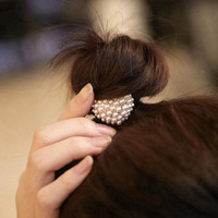 Black Heart Nylon Circle Ring Hair Band Ponytail Holder 17cm