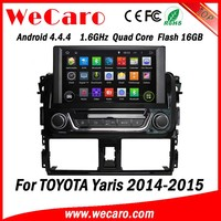 Wecaro Android 4.4.4 car stereo 1024 * 600 double din car dvd gps for toyota yaris A9 cpu 2014 2015