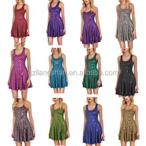 Wholesale OEM Summer Women's Mermaid Pleated Slim Dress Skater Dress for Fashion Party