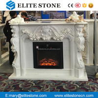 Detailed Carving Classic White Marble Stone Cheap Fireplace Mantel