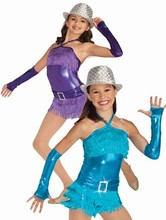 New child latin dance street dancewear performance metallic spandex fringe dress costume sexy party dress