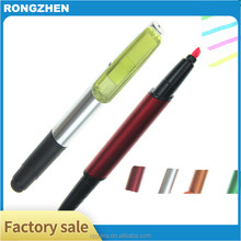 3 In 1 multi color dual pen ball pen with highlighter stylus ballpoint pen
