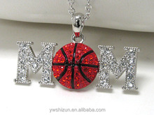Wholesale Costume Jewelry Whitegold plating crystal stud basketball mom pendant necklace