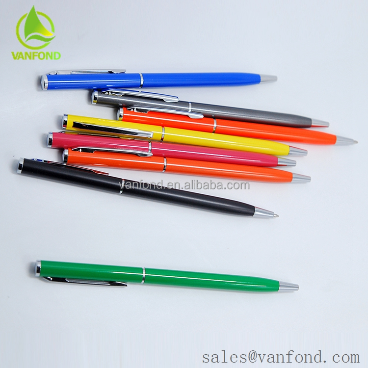 Blue Colour Customized Aluminum Ballpoint Pens With Company Logo